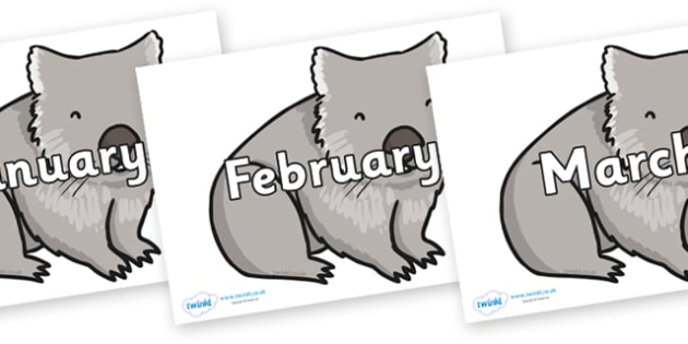 Months of the Year on Wombat - Months of the Year, Months poster, Months display, display, poster, frieze, Months, month, January, February, March, April, May, June, July, August, September