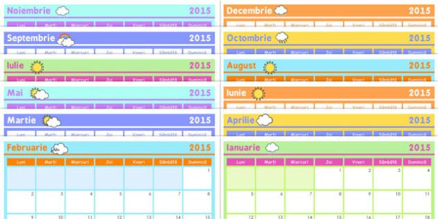 Calendarul clasei, 2015,  data, ziua, luna, calendar de perete A4, Romanian