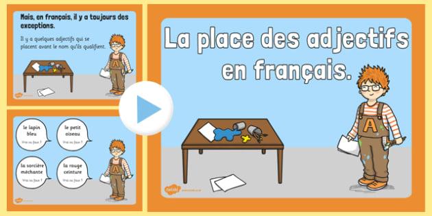 Syntaxe de base la place des adjectifs French - french, Syntaxe, de base, la place, des adjectifs, language