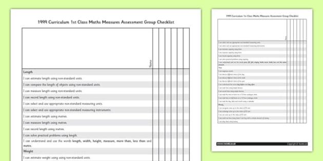 1999 Curriculum 1st Class Maths Measures Assessment Targets Group Checklist - roi, irish, republic of ireland