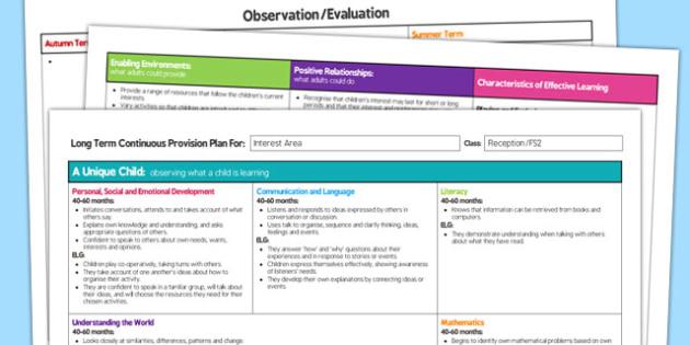 Interest Area Editable Continuous Provision Plan Reception FS2