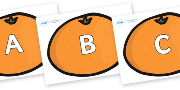 A-Z Alphabet on Satsumas - A-Z, A4, display, Alphabet frieze, Display letters, Letter posters, A-Z letters, Alphabet flashcards