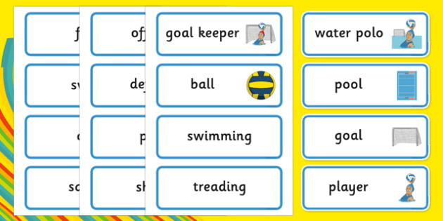 The Olympics Water Polo Word Cards - Water Polo, Olympics, Olympic Games, sports, Olympic, London, 2012, word card, flashcards, cards, activity, Olympic torch, events, flag, countries, medal, Olympic Rings, mascots, flame, compete