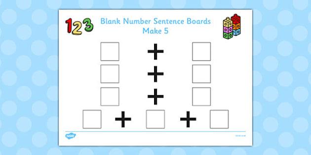 Blank Number Sentence Boards to 10 Make 5 - sentence boards