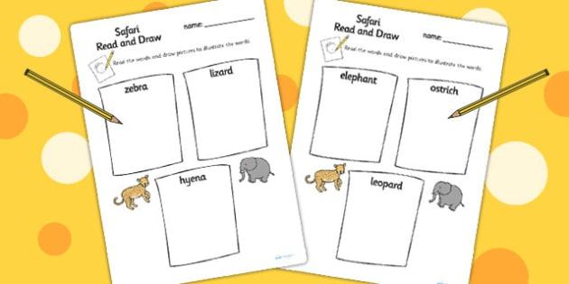 Safari Themed Read and Draw Sheets- jungle, animals, activity