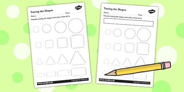 Basic Shape Tracing Activity Sheet - shapes, fine motor skills, maths, 2D shape, trace, circle, square, triangle, rectangle