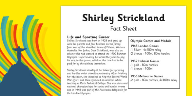 Australian Olympic Athletes Fact Sheet Shirley Strickland - Australia, Olympic Games, Olympics, Paralympics, Athletes, Information, Fact Sheet, Reading Comprehension, Year 6 History
