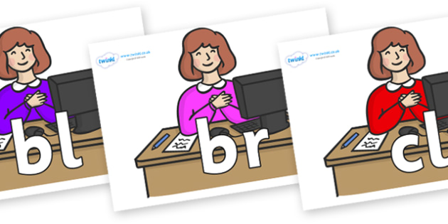 Initial Letter Blends on Receptionists - Initial Letters, initial letter, letter blend, letter blends, consonant, consonants, digraph, trigraph, literacy, alphabet, letters, foundation stage literacy
