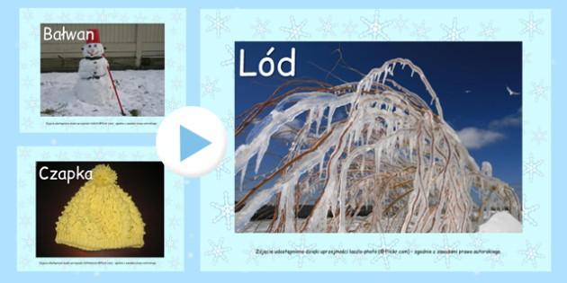 Prezentacja PowerPoint ze zdjęciami Zima po polsku - zima