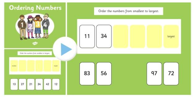 Ordering 2 Digit Numbers SMARTBoard - ordering, 2 digit, numbers
