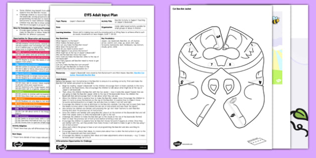 Bee Bot Activity EYFS Adult Input Plan and Resource Pack to Support Teaching on Jasper's Beanstalk - EYFS planning, Early Years Planning, plants, growth, Mick Inkpen, Nick Butterworth