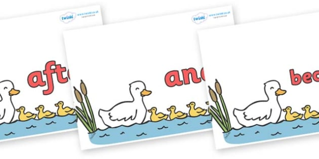 Connectives on Five Little Ducks - Connectives, VCOP, connective resources, connectives display words, connective displays