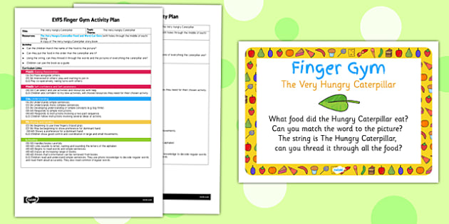 EYFS Finger Gym Activity Plan and Prompt Card Pack to Support Teaching on The Very Hungry Caterpillar