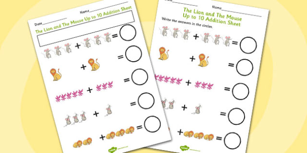 The Lion And The Mouse Up to 10 Addition Sheet - addition, lion