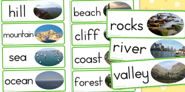 Human Geography Word Cards Natural - literacy, visual, words