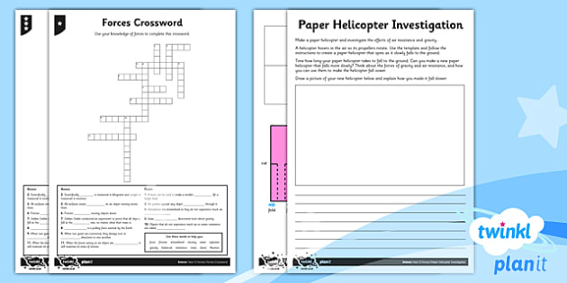PlanIt - Science Year 5 - Forces Home Learning Tasks - planit