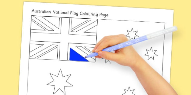 Flags of Australia Australian National Flag Colouring Page - australian, geography, areas, different, display, colourful, classroom, visual aid, early years, ks1, key stage 1, ks2, key stage 2, regions, country, nation, people, activity, art, dra