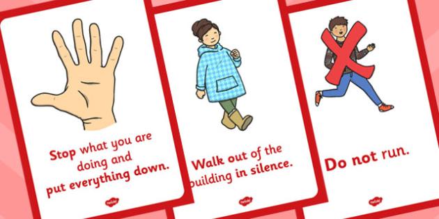 Fire Alarm Instructions Posters Sentences - fire, instructions