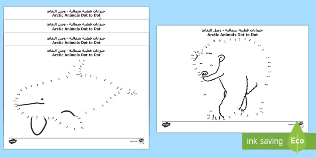 Arctic Animals Dot to Dot Activity Sheets Arabic/English - The Arctic, Polar Regions, north pole, south pole, explorers, worksheet,Arabic-translation