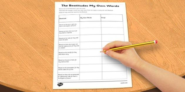 The Beatitudes in My Own Words Worksheet - beatitudes, own, words
