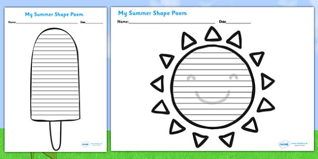 Summer Shape Poetry Templates - seasons, weather, poems, poem