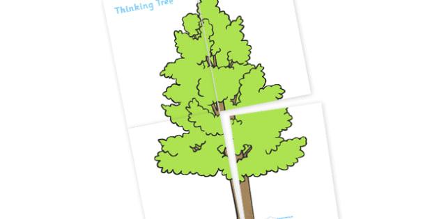 Large Display Thinking Tree - large display thinking tree, tree, thinking tree, green, leaves, large, display, banner, sign, poster