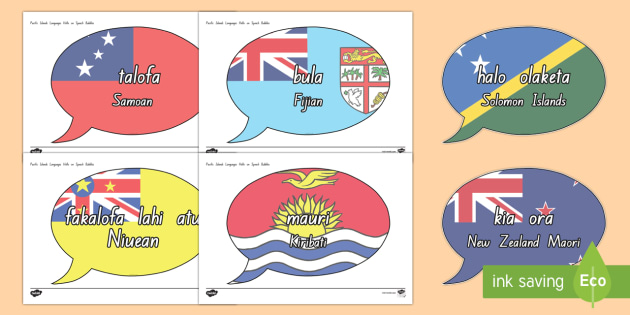 Pacific Islands Languages 'Hello' on Speech Bubbles - nz, new zealand, pacific islands, languages, hello