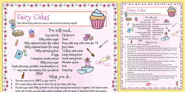 Fairy Cake Recipe Sheet - fairy cake, recipe cards, recipe, card