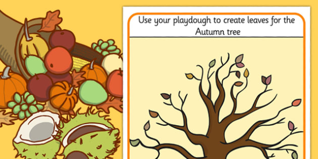 Autumn Tree Playdough Mat - autumn, tree, playdough, mat, trees