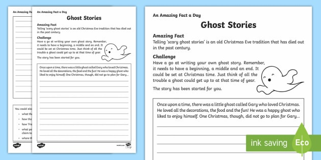 Ghost Stories Writing Activity Sheet - Amazing Fact Of The Day, activity sheets, powerpoint, starter, morning activity, December, ghosts, g