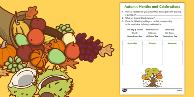 Autumn Months and Celebrations Activity Sheet, worksheet
