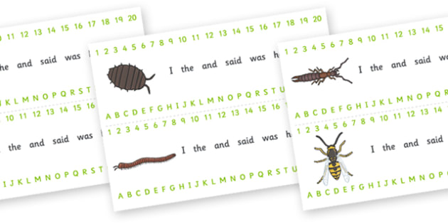 Minibeasts Combined Number and Alphabet Strips - Editable (Detailed Version) - Minibeast, Alphabet, Numbers, Writing aid, knowledge and understanding of the world, investigation, living things, snail, bee, ladybird, butterfly, spider, caterpillar