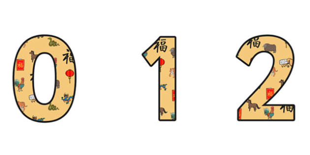 Chinese New Year Themed A4 Display Numbers - chinese, numbers