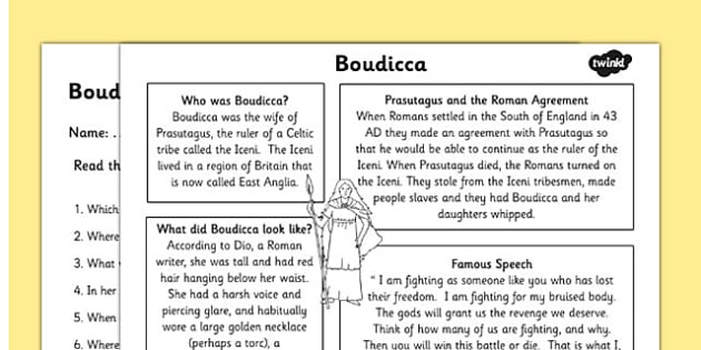 Boudicca Differentiated Reading Comprehension Activity - boudicca, roman, history
