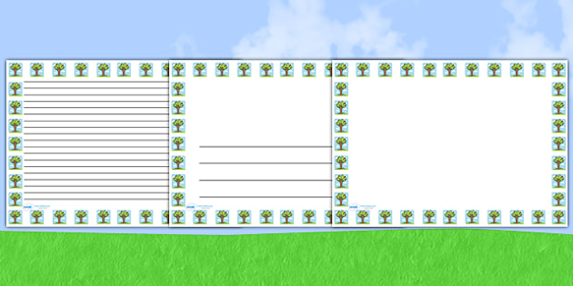 Summer Tree Landscape Page Borders- Landscape Page Borders - Page border, border, writing template, writing aid, writing frame, a4 border, template, templates, landscape