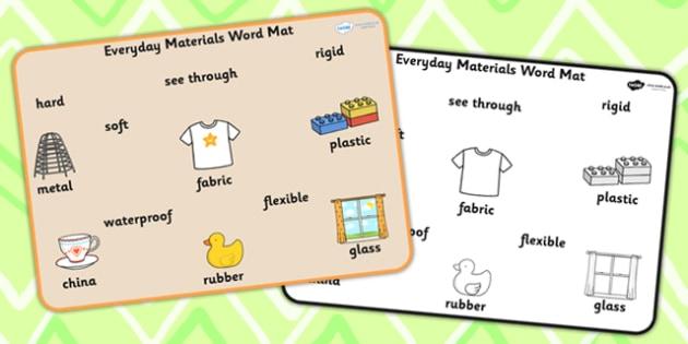 Everyday Materials Word Mat - material, materials, visual aid