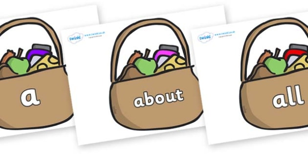 100 High Frequency Words on Baskets - High frequency words, hfw, DfES Letters and Sounds, Letters and Sounds, display words