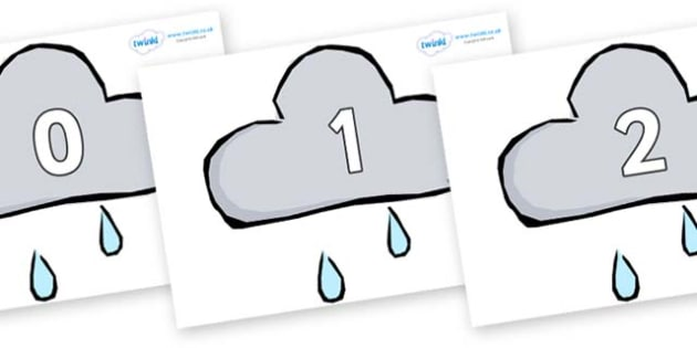 Numbers 0-100 on Weather Symbols (Rain) - 0-100, foundation stage numeracy, Number recognition, Number flashcards, counting, number frieze, Display numbers, number posters