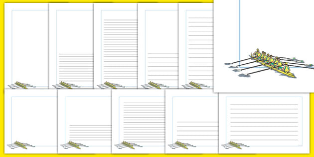 The Olympics Rowing Page Borders - Rowing, Olympics, Olympic Games, sports, Olympic, London, 2012, page border, border, writing template, writing aid, writing, activity, Olympic torch, events, flag, countries, medal, Olympic Rings, mascots, flame, co