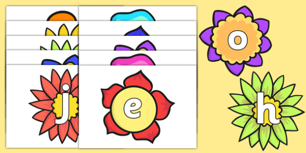 Alphabet on Flowers - alphabet, flowers, a-z, display, visual aid