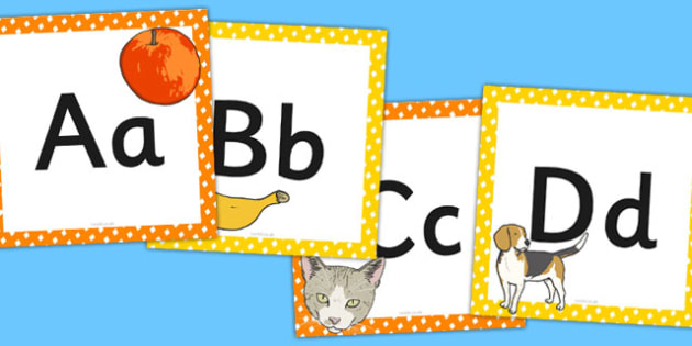 Alphabet Frieze - alphabet frieze, alphabet, frieze, letters, images, cards
