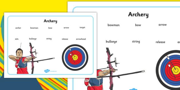 The Olympics Archery Word Mat - the olympics, rio olympics, 2016 olympics, rio 2016, archery, word mat