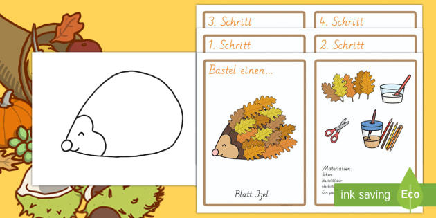 Igel aus Herbstblättern Bastel Aktivität