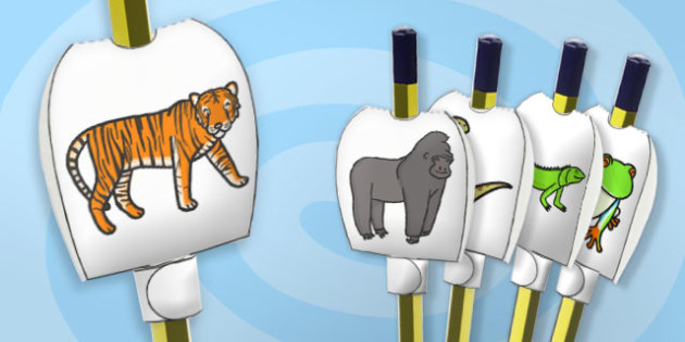 Jungle Themed Pencil Topper - paper, pencil, tops, puppet, party