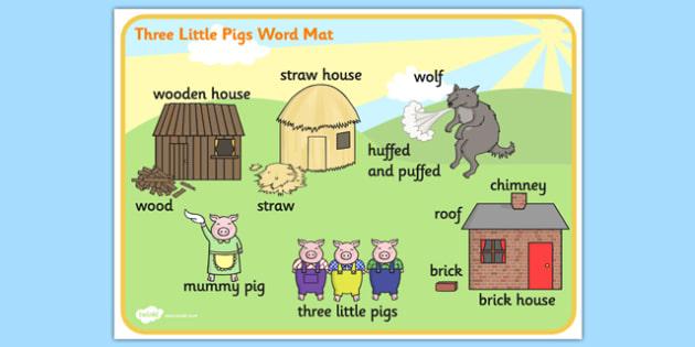 The Three Little Pigs Scene Word Mat - the three little pigs,  vocabulary mat, word mat, key words, topic words, word poster, vocabulary, themed word mat