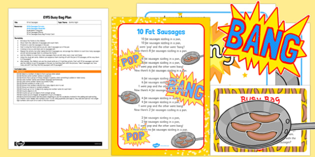 10 Fat Sausages EYFS Busy Bag Plan - 10, fat, sausages, busy bag, plan, eyfs