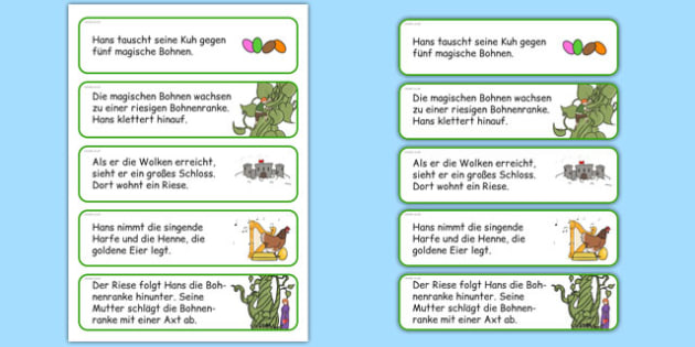 Jack and the Beanstalk Story Sequencing Cut and Stick Activity German - german, jack and the beanstalk, story sequencing, sequencing, cut and stick, cut, stick, stories