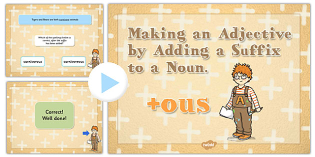 Making an Adjective by Adding the Suffix ous to a Noun SPaG Quiz
