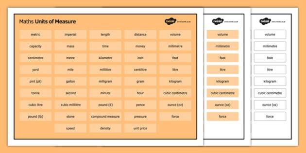 KS3 Maths Word Mat Units of Measure - KS3, KS4, GCSE, Maths, keywords, vocabulary, revision, measure