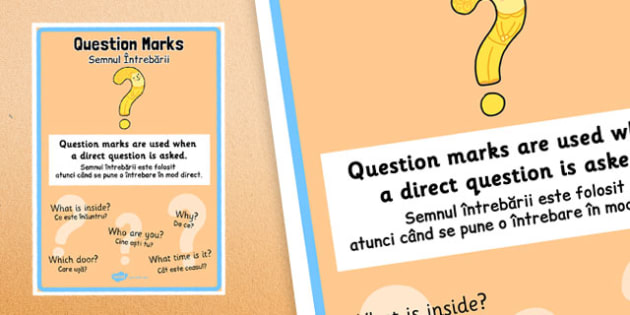 Question Marks Punctuation Poster Romanian Translation - romanian, question marks, punctuation, poster, display